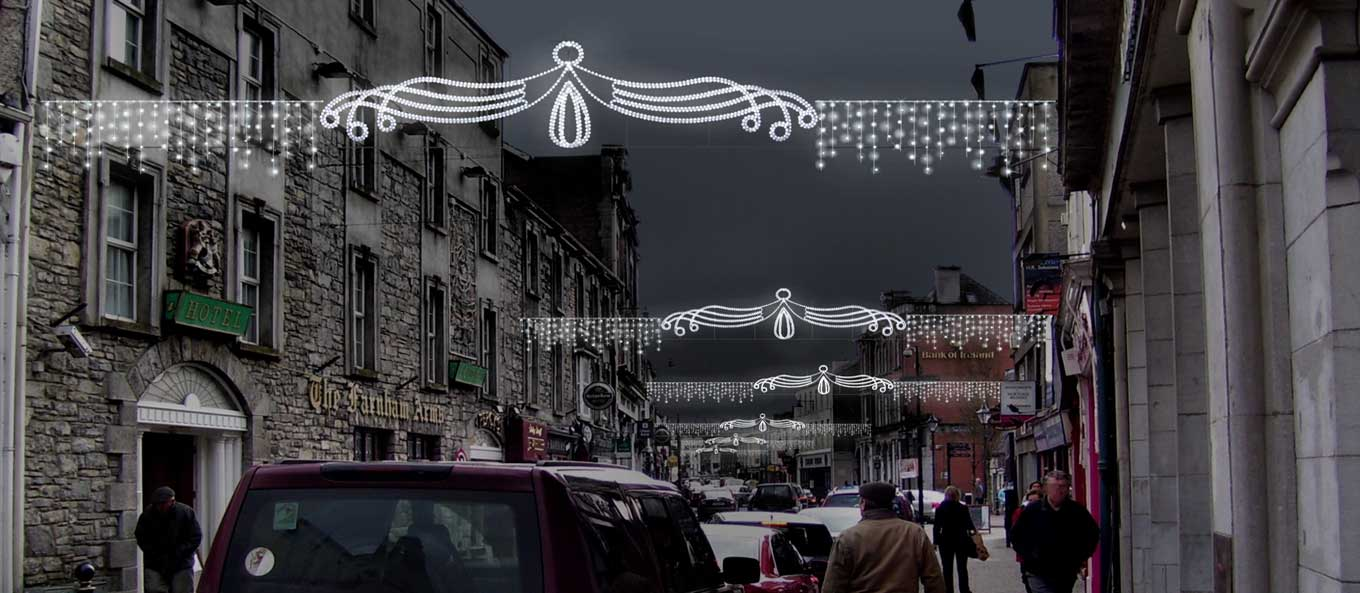 Christmas Lights Street Crossing