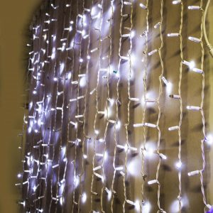 Fairy Light Curtain - 2mtr x 6mtr drop. 1280 White LEDS (256 Flash)